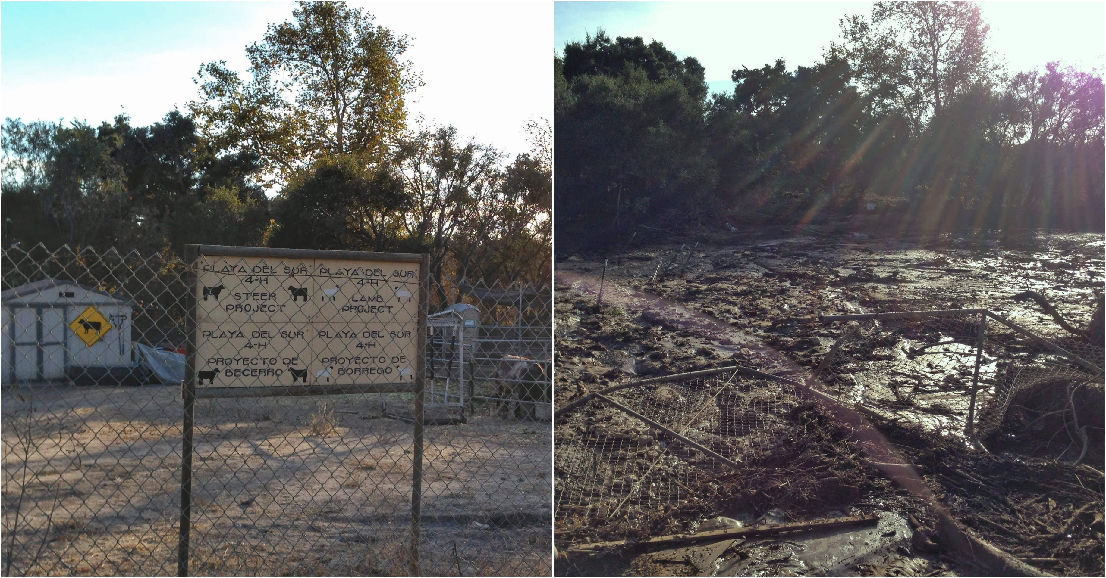 These side-by-side photos show the devastation caused by recent mudslides in Carpinteria.