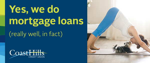 A woman practicing yoga while her dogs licks her face with text that reads 'Yes, we do mortgage loans.' Click to learn more.