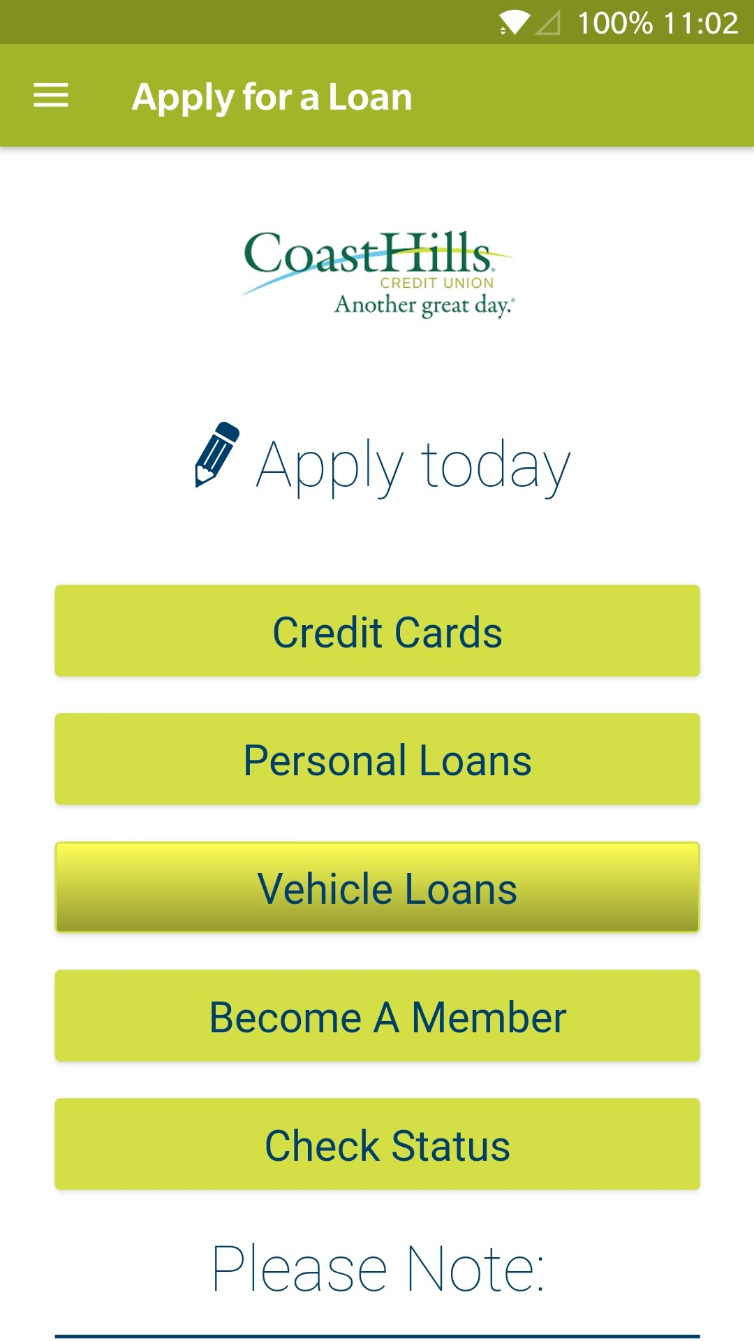 The Loan Applications screen of the CoastHills mobile banking app