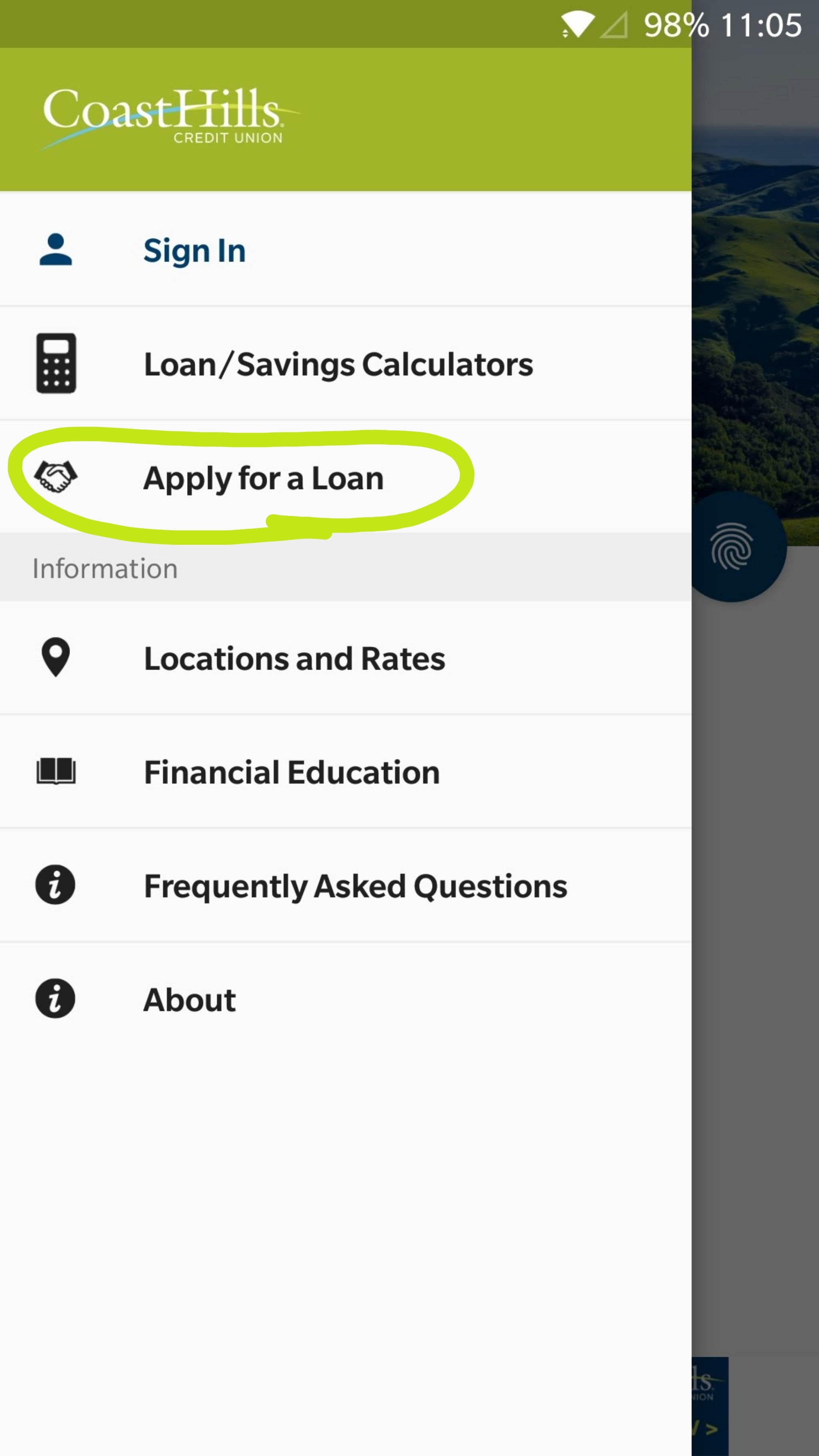 A screenshot of the pull-out menu on the CoastHIlls Mobile Banking app