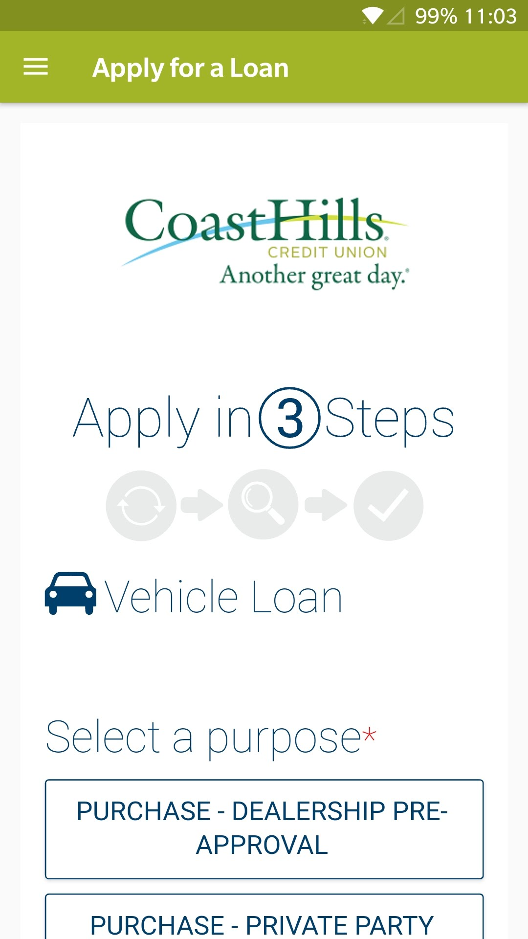 The Auto Loan application screen