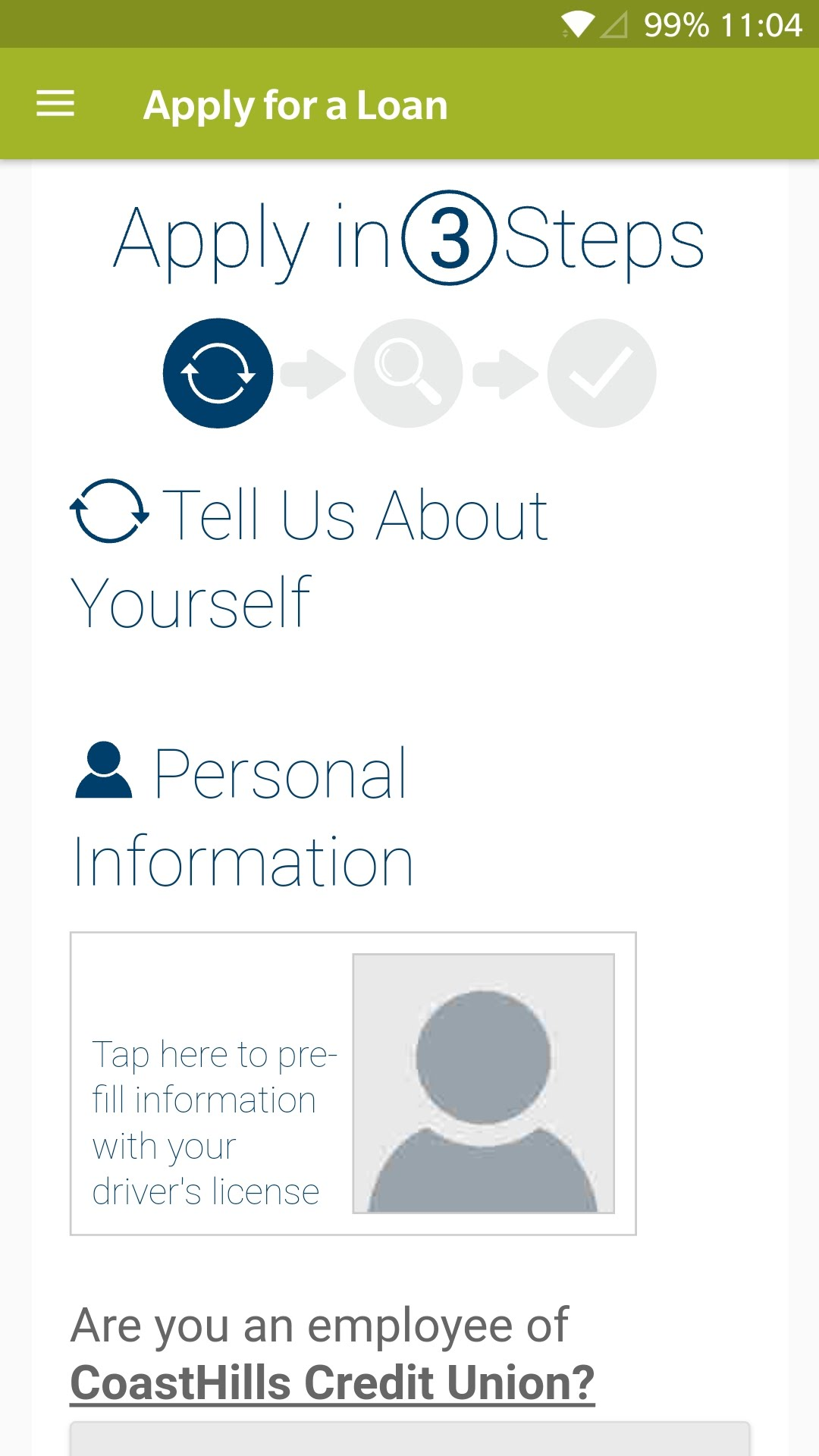 The 'Tell us about yourself' screen