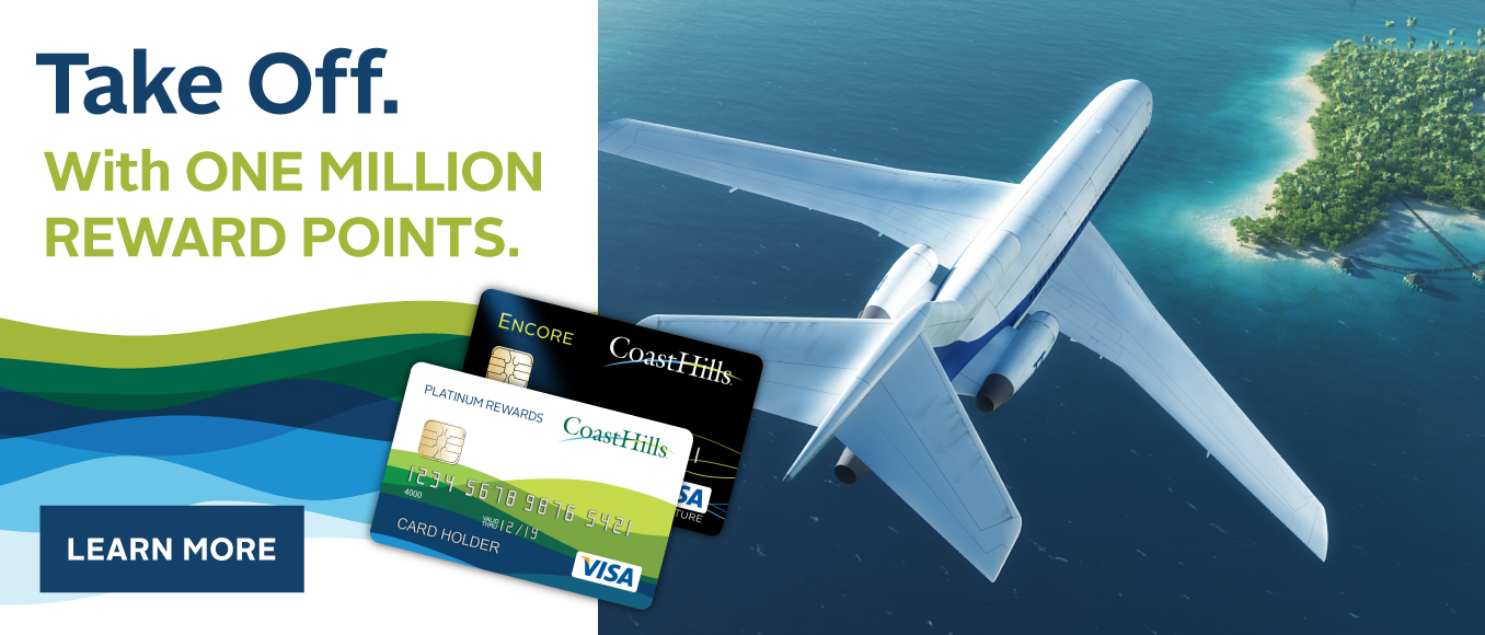 Take off. With One Million Rewards Points. Airplane flying over island.