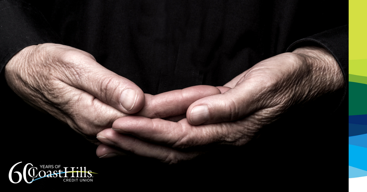 Hand of an older adult cupped together