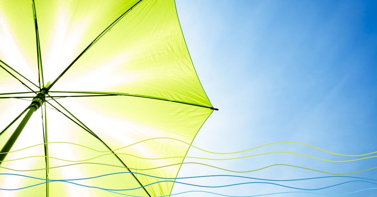 Green umbrella shading you from the sun